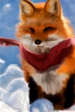 Preview iPhone wallpaper Red fox, scarf, art painting