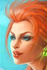Garota de fantasia de cabelo vermelho, olhos azuis, rosto