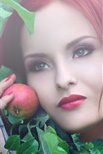 Preview iPhone wallpaper Red hair girl and apple