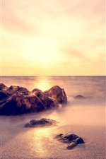 Preview iPhone wallpaper Rocks, sands, sea, fog