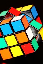 Preview iPhone wallpaper Rubik's cube, colorful colors, black background