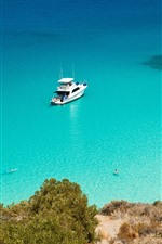 Preview iPhone wallpaper Sea, blue water, coast, yacht