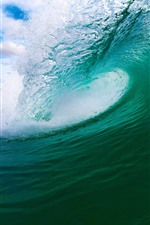 Preview iPhone wallpaper Sea wave roll, water splash, beach, island