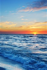 Preview iPhone wallpaper Sea, waves, beach, sunset, clouds