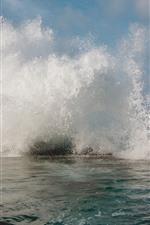 Preview iPhone wallpaper Sea, waves, water splash, foam