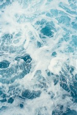 Preview iPhone wallpaper Sea waves, white foam, water