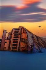 Preview iPhone wallpaper Shipwreck, birds, sea, dusk