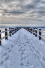 Snow, bridge, pier, sea, winter