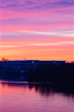 Sunset, red sky, buildings, river, dusk