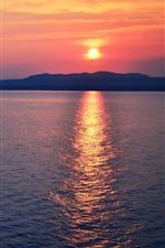 Sunset, sea, water reflection, dusk