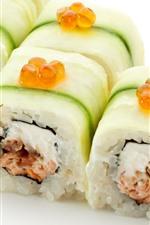 Sushi roll, rice, Japanese food, white background