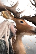 Preview iPhone wallpaper The Hobbit, elf, deer, horns, art picture