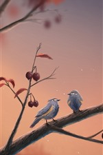 Preview iPhone wallpaper Two birds, tree, art picture