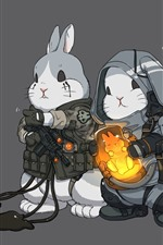 Preview iPhone wallpaper Two rabbits, art picture