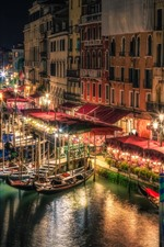 Preview iPhone wallpaper Venice, night, lights, river, boats, Italy