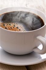 Copo branco, prato, café, vapor
