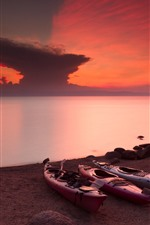 Preview iPhone wallpaper Zimbabwe, lake Malawi, red sky, sunset