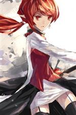 Preview iPhone wallpaper Anime girl, katana, red hair