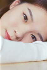 Preview iPhone wallpaper Asian girl, look, eyes, pose, hand
