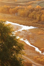 Preview iPhone wallpaper Bashang, golden autumn, trees, river, fog, morning, China