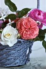 Preview iPhone wallpaper Basket, roses, angel figurine