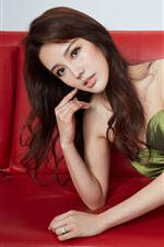 Beautiful Chinese girl, pose, sofa
