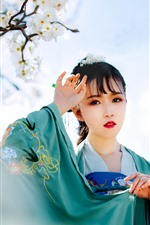 Preview iPhone wallpaper Beautiful Chinese girl, retro style, white plum flowers bloom