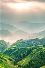 Beautiful Longsheng Terrace, sun rays, green, Guangxi, China