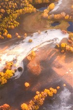 Preview iPhone wallpaper Beautiful autumn, Wulan Butong Grassland, trees, top view