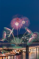 Preview iPhone wallpaper Beautiful fireworks, bridge, river, city, lights, Macau