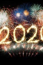 Beautiful fireworks, night, Happy New Year 2020
