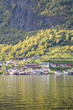 Preview iPhone wallpaper Beautiful landscape, Norway, village, slope, trees, river