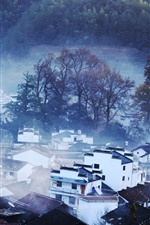 Preview iPhone wallpaper Beautiful village, trees, fog, morning, Shicheng, China