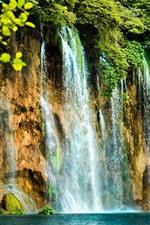 Beautiful waterfalls, bushes, water splash