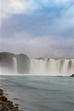 Preview iPhone wallpaper Beautiful waterfalls, water, clouds, stones, Iceland