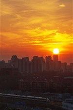 Preview iPhone wallpaper Beijing, China, city, sunset, high-speed rail, train