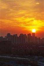 Beijing, China, city, sunset, high-speed rail, train