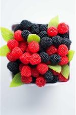 Preview iPhone wallpaper Blackberries and red raspberries, berries