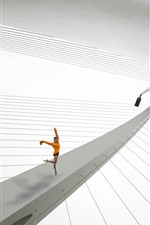 Bridge, dancing girl, creative photo