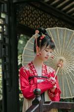Menina chinesa, hanfu, guarda-chuva