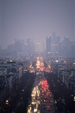 City, night, street, fog, lights