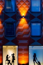 Preview iPhone wallpaper City night, wall, window, silhouette, girls