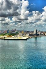 Cuba, Havana, city, sea, clouds, skyscrapers