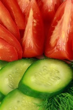 Preview iPhone wallpaper Cucumber and tomato slices