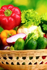 Preview iPhone wallpaper Different kinds of vegetables, basket