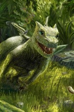 Preview iPhone wallpaper Dragon and squirrel, green style, art picture