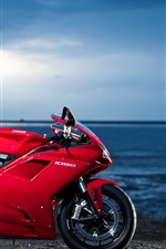 Preview iPhone wallpaper Ducati 1098 red motorcycle, sea
