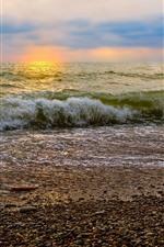 Preview iPhone wallpaper Dusk, sea waves, beach, foam
