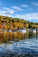 Preview iPhone wallpaper England, Ambleside, river, houses, trees, autumn