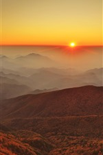 Preview iPhone wallpaper Fog mountains, sunrise